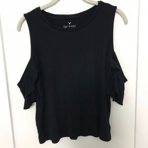 Black Ribbed Cold Shoulder Shirt